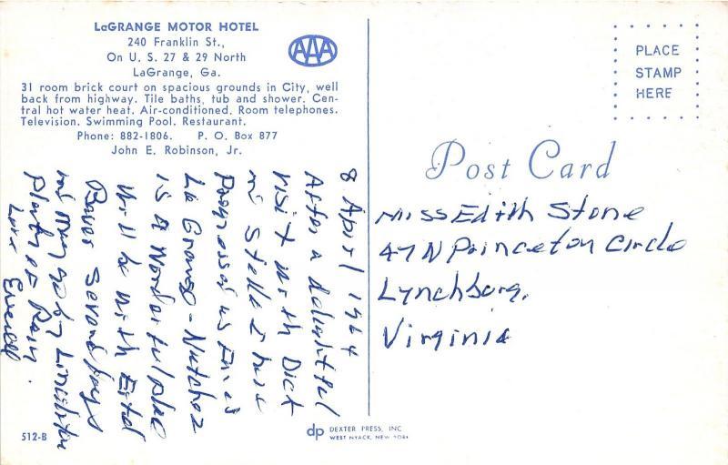 LaGrange Georgia~LaGrange Motor Hotel @ 240 Franklin Street~1964 Postcard
