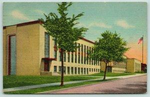 Two Harbors Minnesota~Lake County High School~Sidelong View~1949 Linen Postcard