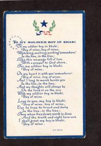 To My Soldier Boy in Kahki Military Service Poem R. G. Beals War Postcard