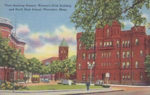 Massachusetts Worcester Armory Women's Club Building and North High School