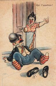 Humour artist signed M.M. angry wife waiting drunk red nose husband caricatures