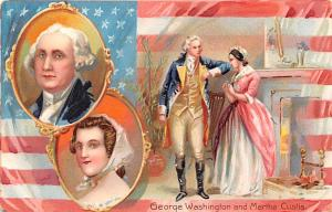 Patriotic Post Card Old Vintage Antique Postcard George Washington and Martha...