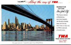 New York City Manhattan Skyline Trans World Airlines Advertising Card