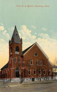 Pittsburg Kansas~First Methodist Episcopal ME Church~1908 Postcard