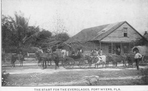 Fort Myers FL The Start For The Everglades Covered Wagon Postcard