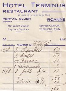 Hotel Terminus Restaurant Roanne 1939 WW2 Receipt