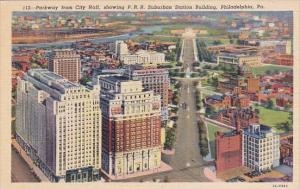 Parkway From City Hall Showing P R R Suburban Station Building Philadelphia P...