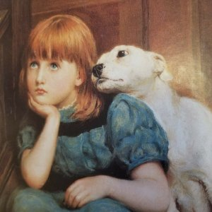 Adorable Redheaded Girl & Puppy Vintage Large Victorian Style 1920's Litho