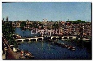 Postcard Modern Amsterdam Skinny Bridge over de Amstel