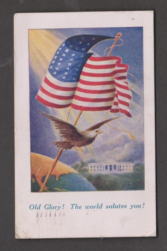 Old Glory - The World Salutes You - Mailed In England 1917