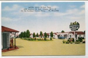 Motel Villa Highway 180 62 El Paso Texas linen postcard