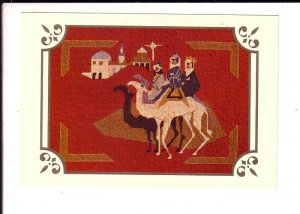 Christmas Blessed, Needlepoint Three Kings on Camels, Pub .1950 - 60's