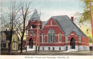 Earlville Illinois~Methodist Church & Parsonage~Nice House~1909 Postcard
