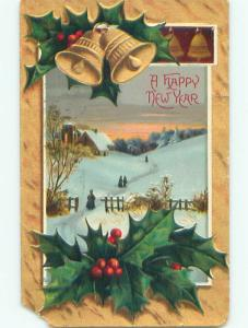 Pre-Linen new year WALKING ON SNOWY PATH PLUS GOLDEN BELLS AND HOLLY k5198