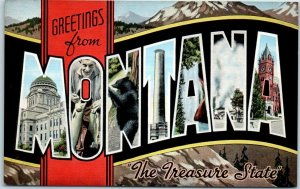 Vintage MONTANA Large Letter Postcard The Treasure State Kropp Linen c1940s
