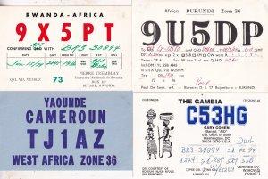 Cameroon Rwanda Gambia 4x African 1970s QSL Radio Contact Card s