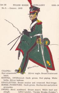 1809 Poland Polish Gunner Uniform Army Napoleonic War PB Postcard