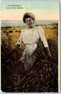 Vintage Iowa Postcard Girl Wheat Field The Harvester - Iowa Farm Scenes 1912