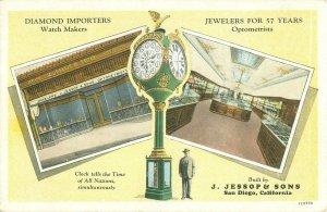 Vintage San Diego CA Postcard Jessop's Clock, Views of Shop, Pre-1930