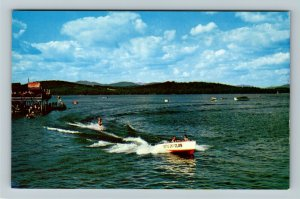 The Weirs NH- New Hampshire, Water Skiing On Lake, Chrome Postcard