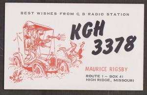 CB QSL Card - Maurice Rigsby High Ridge, Missouri
