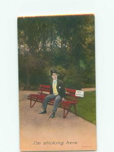 Unused Bamforth comic MAN STUCK TO WET PAINT ON PARK BENCH k8052