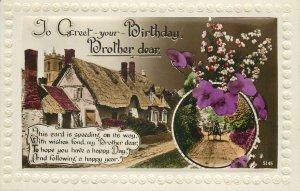 Postcard Greetings birthday flowers brother multi view street house