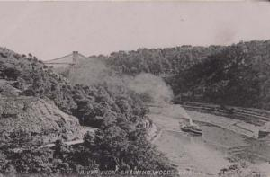 Ferry Boat Ship Passing Shewing Woods Bristol River Avon Somerset Old Postcard