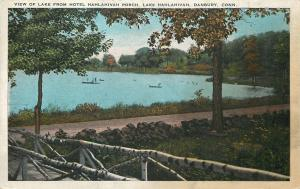 Danbury CT~View of Lake from Hotel Hahlahivah Porch~1920s Postcard