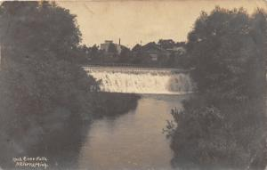 Three Rivers Michigan~Rock River Falls~Houses Background~1905-09 RPPC
