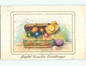 Pre-Linen Easter CUTE CHICK STANDS ON CASE FULL OF EGGS AB3876