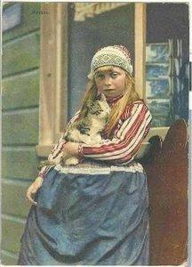 pc678 postcard Marken Holland Girl Cat 1912