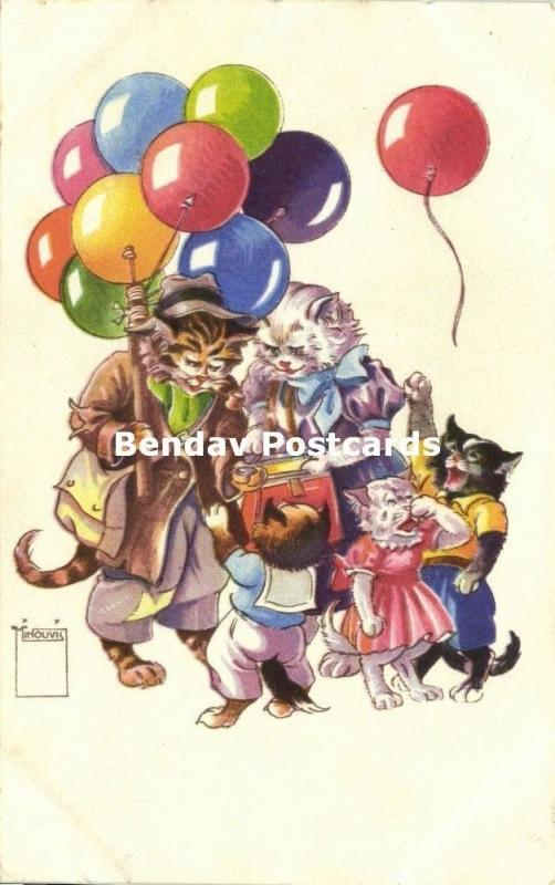 Dressed Cats, Balloon Seller (1953) Artist Signed Minouvis Paul Eberbach No. 71
