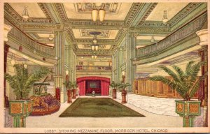 Illinois Chicago Morrison Hotel Lobby Showing Mezzanine Floor