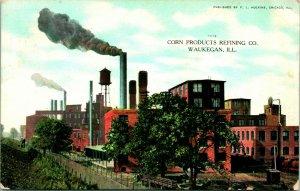 Vtg Postale 1908 1909 - Maïs Produits Refining Compagnie Waukegan Illinois, Il