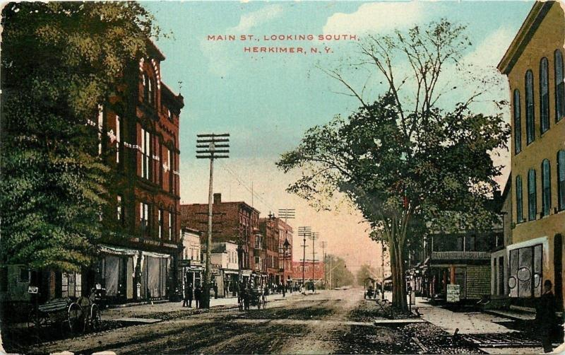 Herkimer New York~Main Street Looking South~Livery~Restaurant~Dirt Road~1911 PC