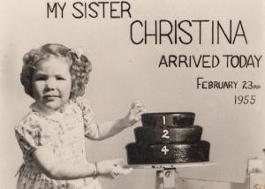 My Sister Christina Arrived Today Weighing Scales Photo Card