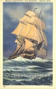 Frigate Constitution, Boston, Massachusetts. MA USA Sail Boat Postcard Post C...