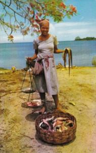 Martinique Beautiful Girl Selling Fish