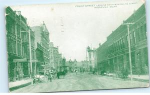 *1909 Front Street Dirt Road Horse Laundry Missoula Montana Vintage Postcard C74