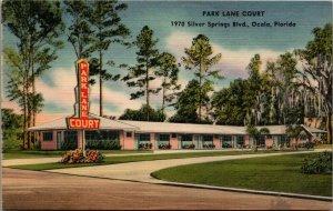 Ocala Florida~Park Lane Court~Ranch Motel~Spanish Moss on Trees~1940s Linen PC