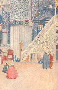 Turkey Old Vintage Antique Post Card Interior of the Mosque of Sultan Ahmed I...