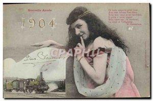 Old Postcard Fantaisie Train New year 1904
