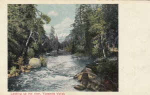 CALIFORNIA, 1900-10s; Looking up the river, Yosemite Valley