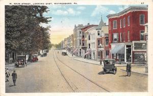 D68/ Waynesboro Pennsylvania Pa Postcard 1928 West Main Street East Stores
