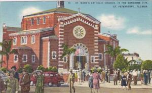 Florida Saint Petersburg Saint Mary's Catcholic Church In The Sunshine City 1950