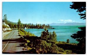 1969 Shore Line Highway on Lake Tahoe, NV Postcard