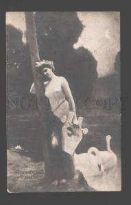096491 NUDE Woman LEDA w/ Lyra HARP & SWAN by HUMBERG vintage