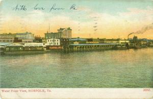 Norfolk, VA Water Front View Atlantic Coast Line, Southern Railway 1908 Postcard