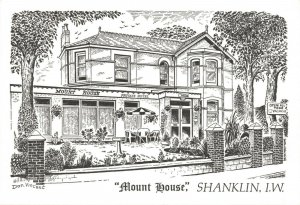 Art Sketch Postcard Mount House Hotel Shanklin Isle of Wight by Don Vincent AS1